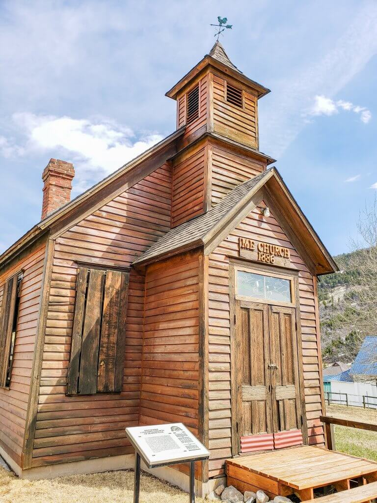 Montana ghost towns have great buildings, like this old church in Marysville, Montana